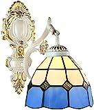 Lámpara Industrial, Tiffany Style Lámpara de Pared Retro Europeo Muro Claro Azul y Blanco Mosaico Color Pintado Lámpara de Vidrio E27 Plazo único Hierro Forjado Proceso Hecho a Mano,Decoración del ho