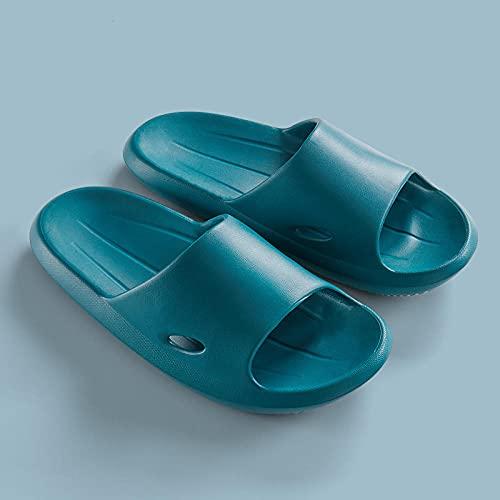 Chen Gary Sandales de Massage de Dames de Salle de Bains,Chaussons de Maison en EVA, Fond épais féminin Respirant-Bleu Profond_45, Femmes Sandalettes