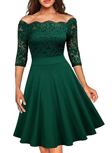 MISSMAY Women's Vintage Floral Lace Half Sleeve Boat Neck Formal Swing Dress, Medium, Green
