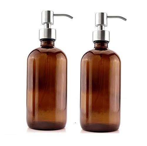 Katela Botellas de cristal ámbar de 473 ml con bombas de acero inoxidable, dispensador de jabón Boston para aromaterapia, aceites esenciales, productos de limpieza, perfumes (2 unidades)