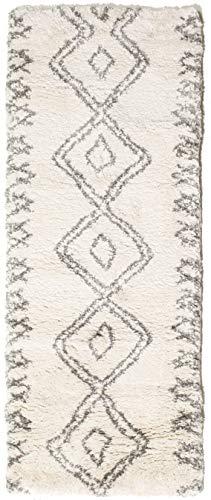 RugVista Tapis Berber Shaggy Massin, Poils Longs, 80 x 200 cm, Tapis de Couloir, Standard 100 by Oeko-TEX, polypropylène, Chambre, Salon, Blanc/Beige