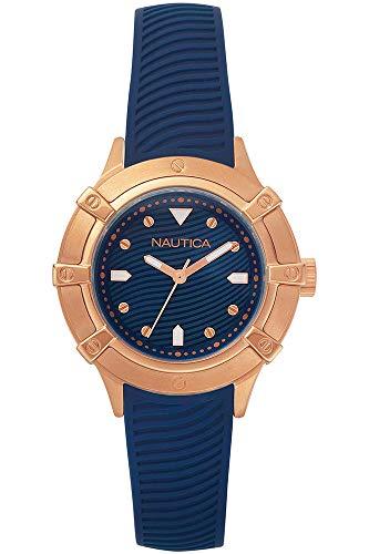 Nautica Damen Datum klassisch Quarz Uhr mit Silikon Armband NAPCPR002