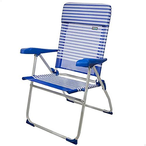 Aktive 53981 - Silla plegable de playa, Silla alta, Silla reclinable, 7 posiciones, 65x62x101 cm, altura del asiento 41,5 cm, cabecero acolchado, color azul y blanco, Aktive Beach