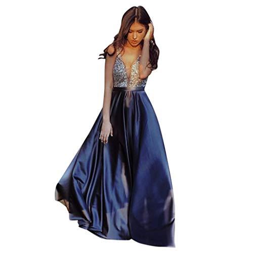 ZHANSANFM Abendkleid Damen Sexy Sequin Partykleid V-Ausschnitt Rückenfrei Patchwork Maxikleid Übergröße Swing Kleid Ballkleid Königsblau Abendkleider Elegant für Hochzeit (L, Lila)