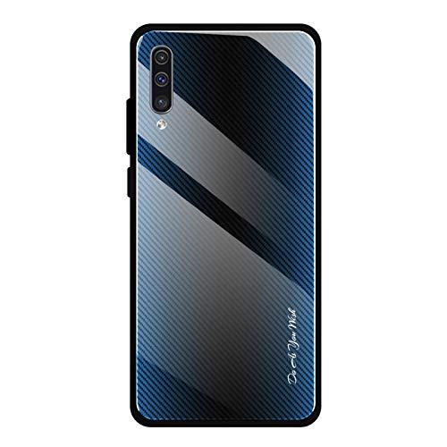Shazikaihui Samsung Galaxy A70 Hülle, Gehärtetes Glas Zurück mit Weichem TPU Silikon Rahmen Handyhülle Gradient Case Schutzhülle Kompatibel für Samsung Galaxy A70 (Blau)