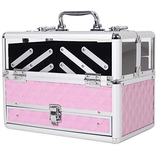 Mallette à maquillage - coffre à cosmétiques - rangement produits de beauté - dim. 30L x 18l x 22H cm - poignée serrure alu. acrylique rose