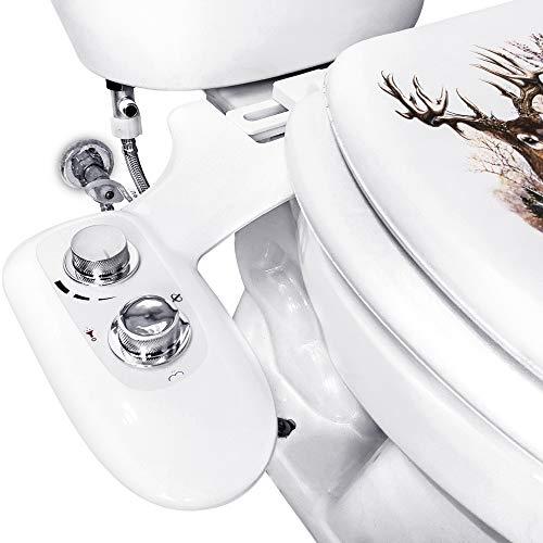 Bidet Toilet Seat Kit Dual Nozzles w/Chrome Handles, Rear and Feminine Soft Wash, Fresh Water Sprayer w/Adjustable Pressure Control, Accessories included Teflon Tape & Wrench. (Twist Knob)