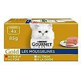 GOURMET Gold - Les Mousselines : Thon, Foie, Dinde, Bœuf - 4x85g - Lot de 24