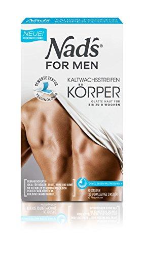 Nad's For Men Kaltwachsstreifen Männer - Haarentfernung für den Körper, alle Hauttypen, 20 Wachsstreifen + 2 Pflegetücher