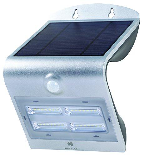 Havells Solazen 3.2-Watt Rechargeable Solar PIR Motion Sensor LED Light (Silver)