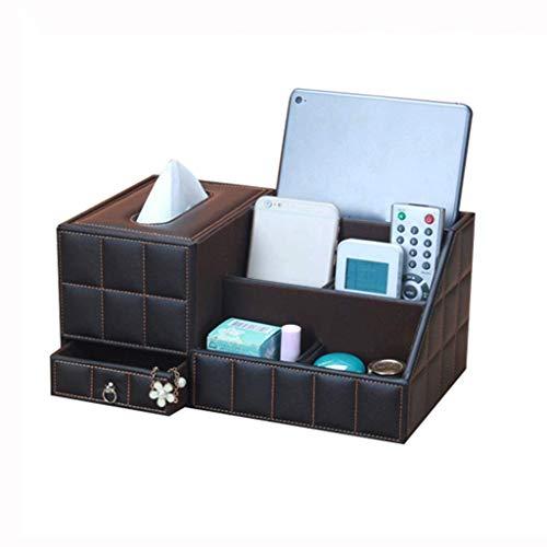 Boîte de Rangement Bac à Serviettes en Cuir Boîte de mouchoirs Multifonctions Boîte de Rangement pour Le Bureau du Salon
