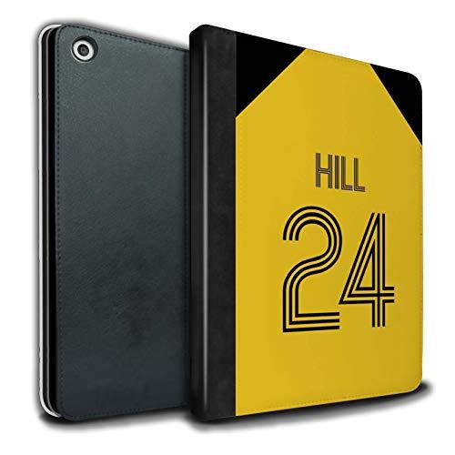 Personalisiert Individuell Fußball Vereine Trikots Kit PU-Leder Hülle für Apple iPad 9.7 2018/6th Gen/Gelb Schwarz Design/Initiale/Name/Text Tablet Schutzhülle/Tasche/Etui
