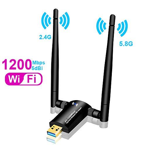 WLAN Stick, 1200 Mbps USB 3.0 WLAN Adattatore, WiFi dongle Dual Antenna Dual Band 5 GHz 433 mbps/2,4 GHz 150 Mbps per PC, Desktop, Laptop con Windonws, Mac