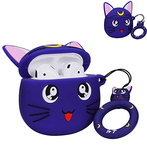 Punswan for Airpods 1&2 Case,Cute 3D Cartoon Character Soft Silicone Animal Stylish Cover,Kawaii Fun Cool Keychain Funny Design Skin,Cases with Buckle Holder,for Girls Kids Air pods(Purple Sailor Moon