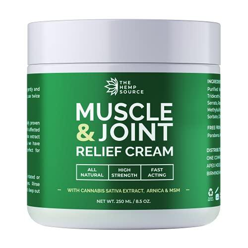 Hemp Muscle & Joint Relief Cream | Natural Hemp Extract + MSM + Arnica +...