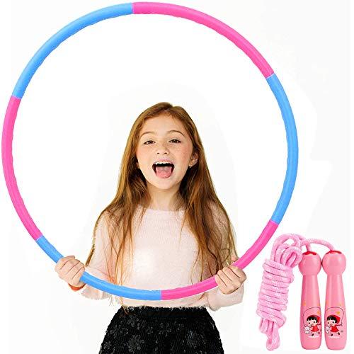 Bojoncka Hula-Hoop-Reifen für Kinder im Fitnessstudio – Springseil, Hula-Hoops für Kinder, große Hula-Ringe für Sport, Springseil, abnehmbares Design (6 Stück)