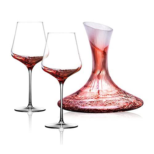Copas de vino Copa de Vino Tinto x 2 + decantador de Vino, Pareja de Restaurante, Copa de Vino de Cristal, Copa de Fiesta, Caja de Regalo, Regalos para Amantes del Vino