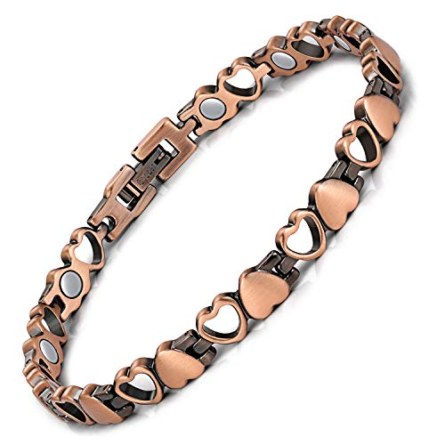 Feraco Copper Magnetic Therapy Bracelet for Women Arthritis Pain Relief Love Heart 99.99% Solid Copper Bracelets Jewelry with Strong Magnets