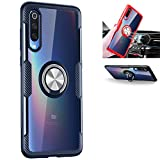 Xiaomi Mi 9 SE Case,360°Rotating Ring Kickstand Protective Case,Silicone Soft TPU Shockproof Protection Thin Cover Compatible with [Magnetic Car Mount] for Xiaomi Mi 9 SE Case (Navy/Silver)