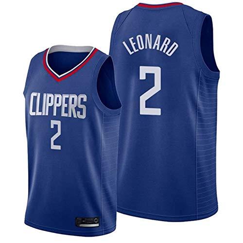 DXG NBA Los Angeles Clippers #2 Kawhi Leonard Baloncesto Jersey de Deporte, sin Mangas Transpirable Duradero Bordado Acoplamiento Chaleco de la Tapa,Azul,M