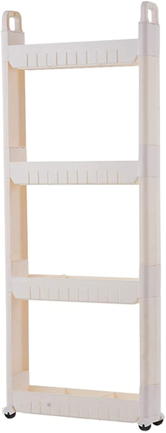 HUYP White Shelf Clip Seam 10cm Home Supplies Bedroom Bathroom Storage Rack with Wheels