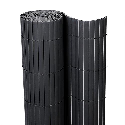 E-starain Estera de PVC El bambú Pantalla protección Privacidad contra el Viento Sol UV Rayos para Jardín Balcón Terraza,Gris 300 * 100 cm