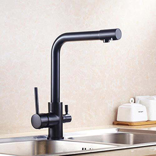 Grifo de la cocina doble función de filtro de agua de 3 vías grifos de la cocina de 360 rotaciones con la purificación del agua Características de mezclador del grifo de la grúa, negro