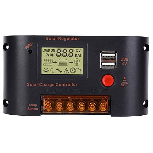 Regulador de panel solar, con tecnología PV-Power Controlador solar multiusos, 10A para batería de plomo-ácido Hogar 12V 24V Tienda