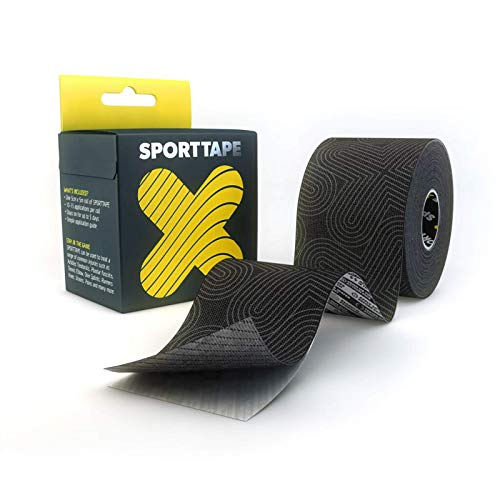 SPORTTAPE Extra Sticky Kinesiology Tape, 5cm x 5m - Platinum - Hypoallergenic, Waterproof K Tape Physio, Medical Sports Tape for Muscle Injury, Support