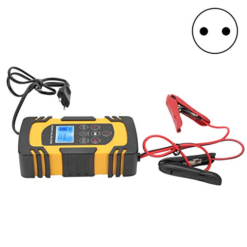 Deror Cargador de batería, AC110V-220V Cargador de batería Inteligente Profesional Accesorio para Cargador de batería de automóvil (Amarillo)(European regulations)