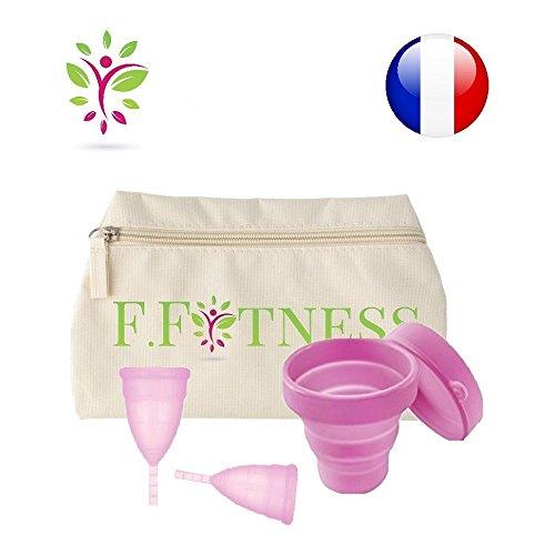 LOT 2 FIT CUP coupe menstruelle taille 1 et 2 + trousse de rangement lavable + stérilisateur (ROSE 2)