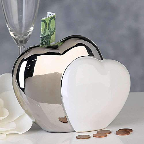 Casablanca Spardose Hearts Weiss/Silber,Ker.H.13cm