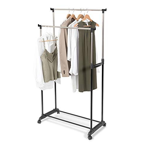 Store & Style   Burro para ropa con altura regulable, 78 x 42 x 85 165cm (ancho x fondo x alto, gris y negro)
