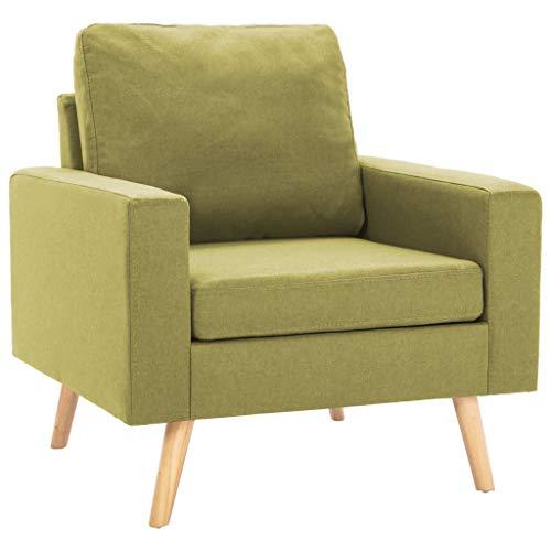 vidaXL Sillón Silla Asiento Sofá Individual Dormitorio Salón Sala de Estar Cojines Acolchado Suave Cómodo Elegante Sencillo de Tela Verde