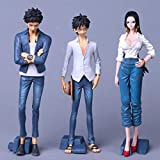 CXNY Anime One Piece PVC Figura de acción Jeans Monkey D Luffy Boa Hancock Trafalgar Law Figura de acción Modelo Juguetes colección regalo-3pcs / Set