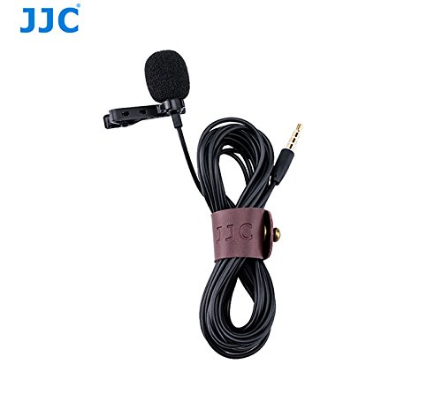 JJC SGM-28 Omnidirectional Lavalier Clip-on Microphone for 3.5mm Jack Android Phones, Laptop, PC, Camcorders with 14ft Audio Cable (Black)