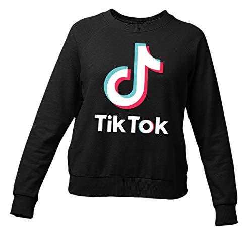 Viral Tik Tok Logo Music App Unisex Sweater Musically Sweatshirt Erwachsene & Kinder Gr. S, Schwarz