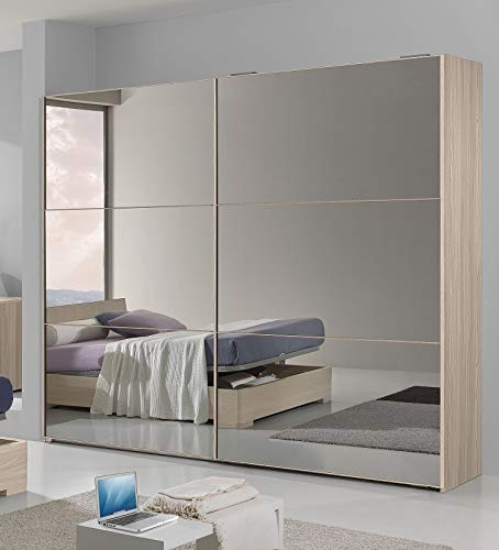 Dafne Italian Design Kleiderschrank mit Rauchspiegel, 2 Schiebetüren, Olmo-Effekt (cm 277 x 66 x 246h)