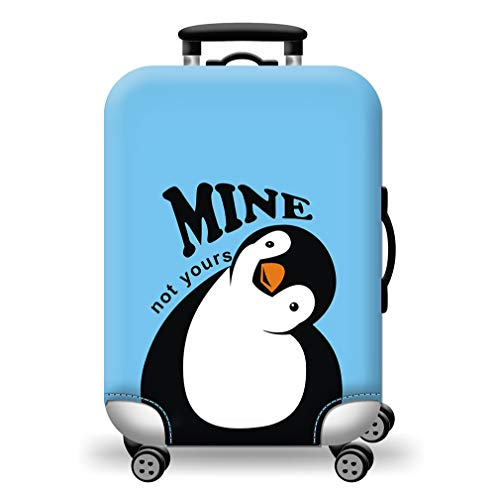 Suitcase Cover Blue Penguin Elastic Luggage Cover Lightweight Colorful Travel Suitcase Covers Protector Fit 18-32 Inch (M for 22-25 inch Luggage)