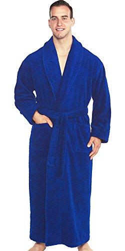 Turkish Towels Terry Cloth Bathrobe 100% Luxury Cotton Robes For Women Men-Men's Robe White Soft Unisex Spa Bath Robe Original Terry Shawl Turkish Bathrobe (Royal Blue (Chiron), Medium)
