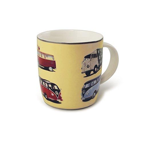 BRISA VW Collection - Volkswagen Bulli Bus T1 Kaffee-Tee-Tasse-Becher für Küche, Werkstatt, Büro - Camping-Zubehör/Geschenk-Idee/Souvenir (Motiv: Front/Gelb/Bulliparade)