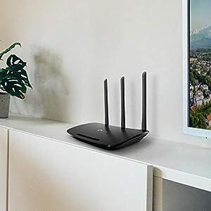 TP-Link TL-WR940N N450 WLAN Router (für Anschluss an Kabel-/ DSL-/ Glasfaser-Modem, 450 Mbit/s (2,4 GHz), WPS, Print/ Media/ FTP Server) schwarz