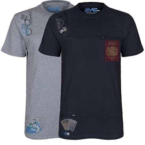 AyeGear T3 Tshirt with 3 Discreet Pockets, Premium Quality, Ultra Soft Touch Feel, Sports and Travel Tshirt, Black XXL