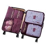 7 Set Sistema di Cubo di Viaggio - 3 Cubi di Imballaggio + 3 Sacchetti Borsa+ 1 Borsa portascarpe -...
