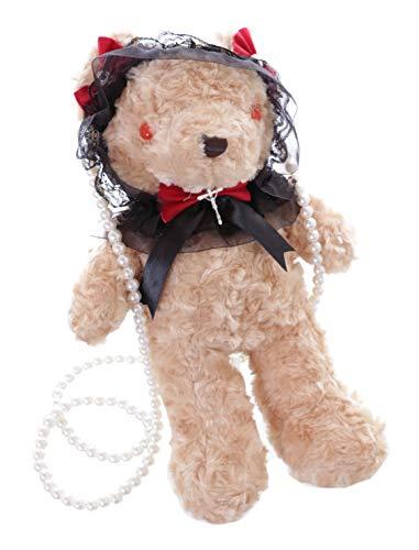 Kawaii-Story LB-231-3 Beige Teddy Bär Perlen Schleife Plüsch Tasche Lolita Pastel Goth Harajuku