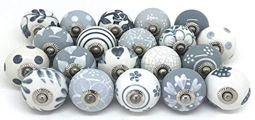 Artncraft 10 Knobs Grey & White Cream Rare Hand Painted Ceramic Knobs Cabinet Drawer Pull Pulls…
