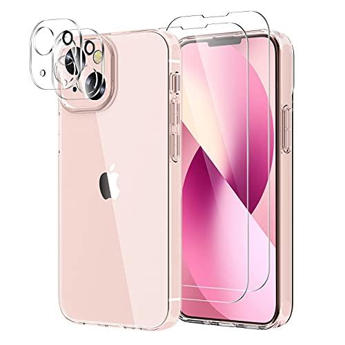 YIRSUR Funda Compatible con iPhone 13, con 2 Pack Cristal Templado Protector de Pantalla y 2 Pack Protector de Lente de Cámara, Suave TPU Silicona Carcasa Transparente Case Cover