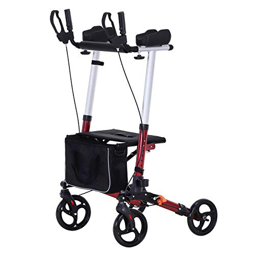 HOMCOM Folding Rollator Walker with Seat and Bag, Wheeled Rolling Medical Height Adjustable, Aluminum