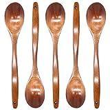 Zliger 5 Pezzi Cucchiaio di Legno Cucchiaio di Zuppa Lungo Manico Posate Cucchiaio da Minestra Cucchiaio da Riso Cucchiai da Cucina per Ristorante di Famiglia