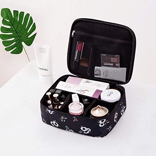 Ménage24 * 20 * 9cm Tissu Oxford Cosmetic Petit Sac Lady Mini Cosmetic Case,Blackflowers